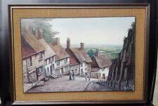 Vintage print Kevin Platt Gold Hill - Shaftesbury FREE UK P&P 37cm x 27cm