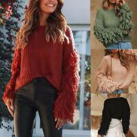 US Women fashion Winter Sweater Tassel Knitted Shaggy Jumper Pullovers Sweater
