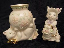 Lenox Cat Figurine Holding a Pearl Flower Pot / Bunny with a flower Basket