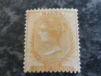 MALTA POSTAGE STAMP SG7 ONE HALF PENNY PERF 14 DULL ORANGE FINE MOUNTED MINT