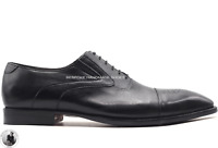 Handmade Men's Genuine Black Oxford Brogue Lace Up Toe Cap Shoes