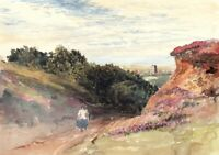 Beautiful antique watercolour landscape CROMER Norfolk school of David Cox 19thc