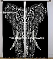 Black & White Elephant Mandala Curtain Cotton Hippie Tapestry Indian Curtain Set