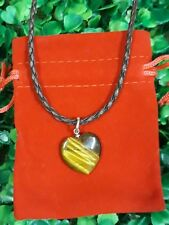 Tiger's Eye Heart Gemstone Pendant Necklace On Leather Cord