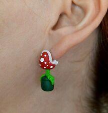 Piranha plant earrings (regular pierced ears) inspired in Super Mario.