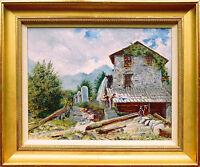 L. Bovis (England 2.Hälfte 19. Jahrhundert): Mühle im Gebirge mit Ausflüglern Öl