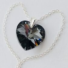 Swarovski Elements Heart Necklace Pendent Crystal 925 Silver Night Santa Gift