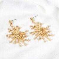 Elegant Korean New Fashion Women Fresh Water Pearl Stud Gold Earrings Jewelry