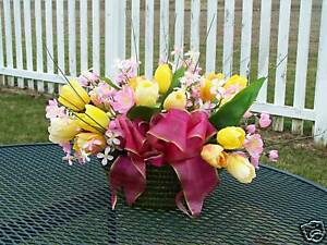 Yellow Tulips Basket Arrangement Pink Wildflowers Thinking of You or Birthday