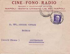 * NAPOLI - Busta Cine Fono Radio 1930 Montemonaco Ascoli