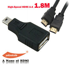 USB 2.0 Type A to Mini USB 5-Pin Type B F/M Adapter+6ft Gold 1.4V HDMI Cable 3D