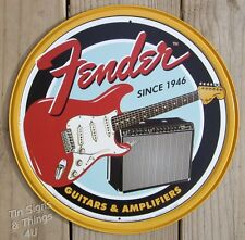 Fender Guitar Amp ROUND metal TIN SIGN vintage retro garage bar wall decor 1858