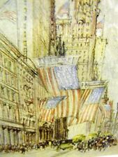 Pennell LOWER BROADWAY AMERICAN FLAG NYC 1909 Art Matted