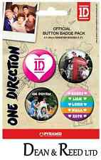 *NEW* One Direction PACK OF 4 BADGES BY PYRAMID (B033)