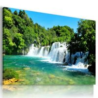 WATERFALL CASCADE TREES NATURE CANVAS WALL ART PICTURE LARGE WA42 X MATAGA