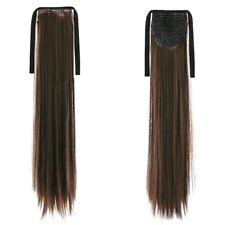 Extension Ponytail Hair Wrap Around Ribbon Clip-in Hairpiece (Dark Brown St Y6B8