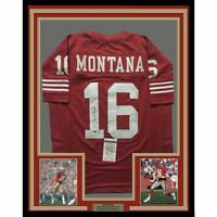FRAMED Autographed/Signed JOE MONTANA 33x42 San Francisco Red Jersey JSA COA