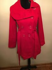 Women's XoXo Red Formal Long Winter Coat. Tie waste and buttons. Size: Small.