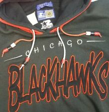Vtg CHICAGO BLACKHAWKS Starter Double HOODED SWEATSHIRT Bead Pulls NHL 90s