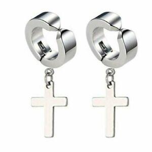 Men Women Stainless Steel Cross Dangle Hoop Clip on Earrings Non-Piercing
