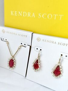 Kendra Scott Set Brett Necklace Juniper Earrings Berry Glass