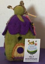 "Nwt Birdhouse Wild Woollies Wool Felt Pixie House Bird House Purple Green 9"""