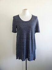 Smart Casual! Blue Illusion size M navy striped top in excellent condition