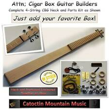 Cigar Box Guitar.Parts Kit, Hardwood Neck 4 string. Everything except the Box