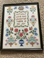Vintage Counted Cross Stitch Flowers And Saying. 1976. Framed.