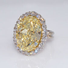 12.71 carat GIA Canary Yellow Diamond with 2.88cts Diamond Halo Ring