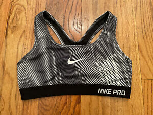 NIKE PRO Dri-Fit Sports Bra Racerback Size XS Black/White/Gray