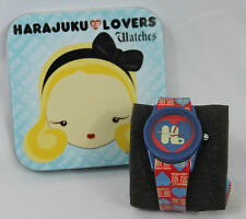 NWT Harajuku Lovers Watch Gwen Stefani Red Blue H Logo with Tin Box