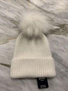 Anthropologie NORLA FAUX FUR Pom Pom Knit Beanie Canada HAT White  ~ NEW