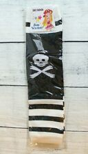 Black & White Striped Arm Warmers Skulls Knit Juniors Teens One Size Unisex
