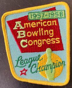 1958 ABC AMERICAN BOWLING CONGRESS, LEAGUE CHAMPION SHIRT PATCH