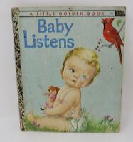 "Little Golden Book Vintage BABY LISTENS Eloise Wilkin ""A"" 1st Edition"