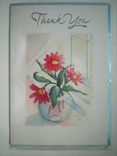"FLOWERS IN VASE ""THANK YOU"" GREETING CARD + BLUE ENVELOPE"
