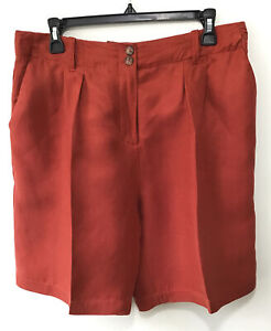 Anthropologie Ett Twa Size 29 Small Linen Blend High Waisted Shorts Rust Orange