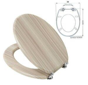 "Tapa de Wc para Inodoro Universal Baño Cubierta Agua Madera 18"" Mod. 52988"