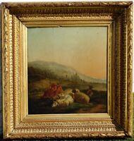 Bétail au Pré, 1780, Superbe Ecole Flamande du XVIIIème Siècle! Cadre 1880!