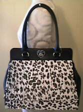 NEW Betsey Johnson Designer Black Cheetah Leopard Fringe Tote Unique Bag $118