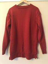 Men's Red Pure Wool Fisherman's Guernsey Knit Traditional Sweater Jumper Large