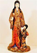 "RARE BIG 11""ANTIQUE JAPANESE MORIAGE KUTANI~SATSUMA MOTHER&CHILD FIGURINE STATUE"