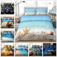 3D Ocean Beach Starfish Turtle Quilt Doona Duvet Cover Cozy Set Bedding Set H175