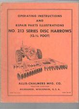 Allis Chalmers No 213 Series Disc Harrows Operating Instructions Manual Tm 108