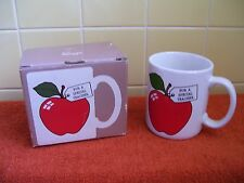 """HALLMARK """"For A Special Teacher"""" Ceramic MUG (White with Red Apple) New In Box"""
