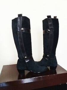 WOMEN LEATHER SUEDE GRAY BROWN METAL DECORATION BOOTS SIZE 8.5 MADE IN ITALY