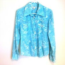 Banana Republic Western Pearl Snap Women's Blue Long Sleeve Tops & Blouses Sz L