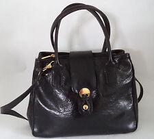 BLACK ITALIAN SHINY LEATHER HANDBAG SHOULDER BAG DOUBLE STRAPS