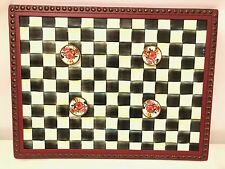 Mackenzie Child Message Board Courtly Check W/Magnets Rare Enamel/Magnet Board
